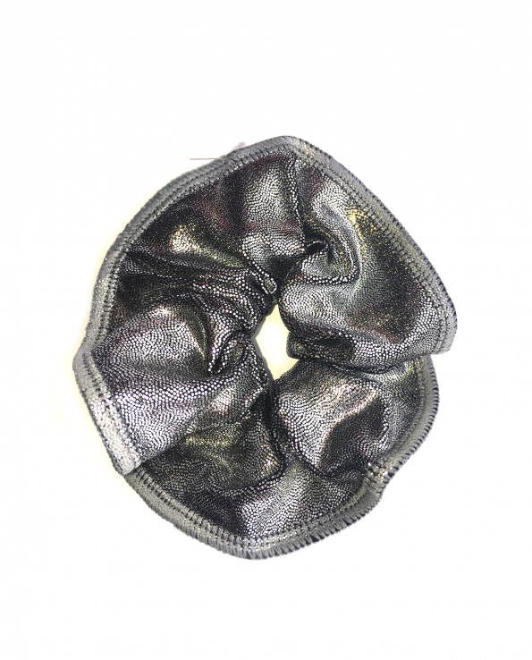 silver gymnastics hair scrunchie