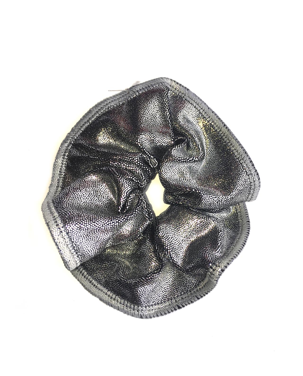 silver gymnastics hair scrunchie