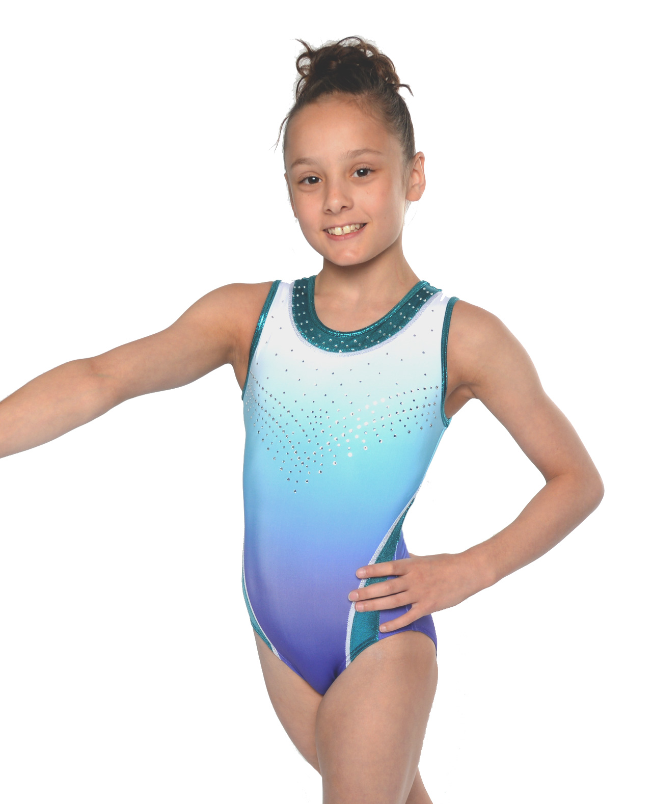leotard ombre purple blue green