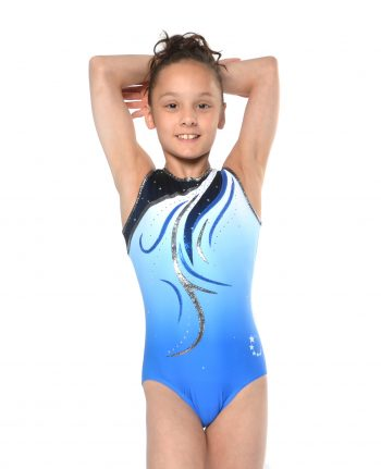 blue ombre gymnastic leotard