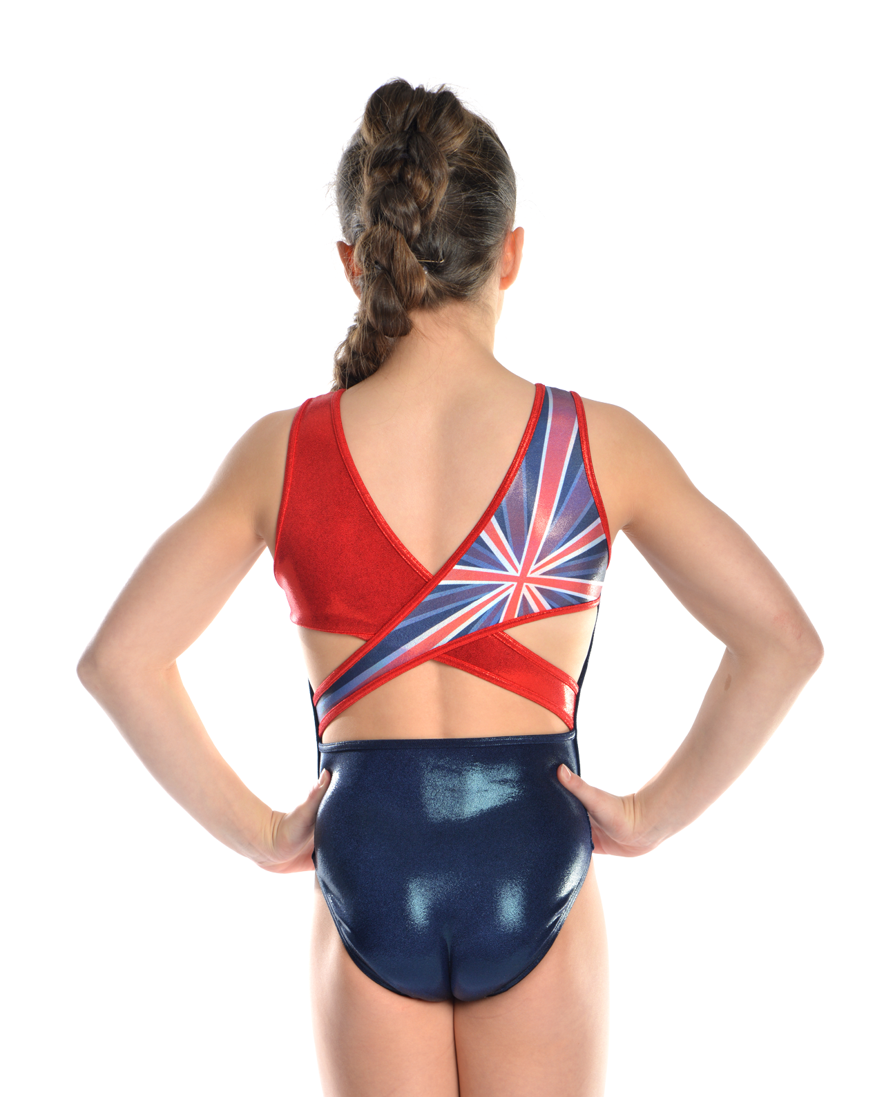 navy and red gymnastics leotard with union jack detail