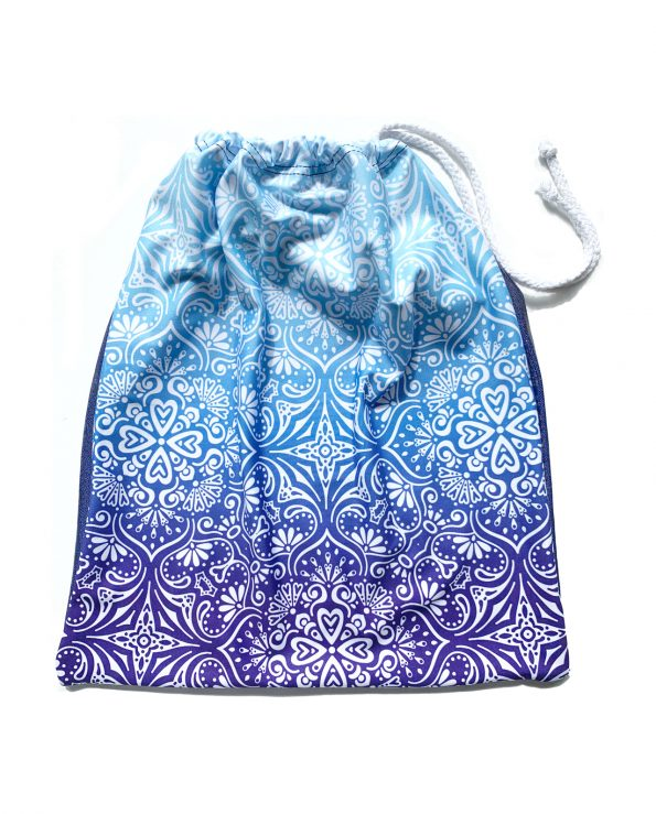 blue ombre patterned hand guard gymnastics bag