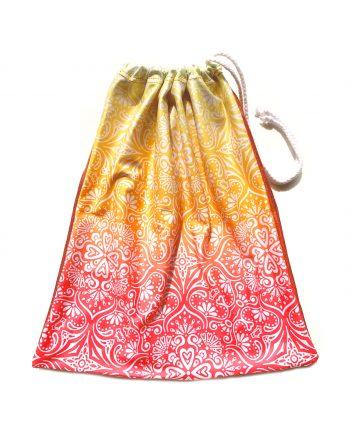yellow and organge pattened gymnastics pattered gymnastics bag