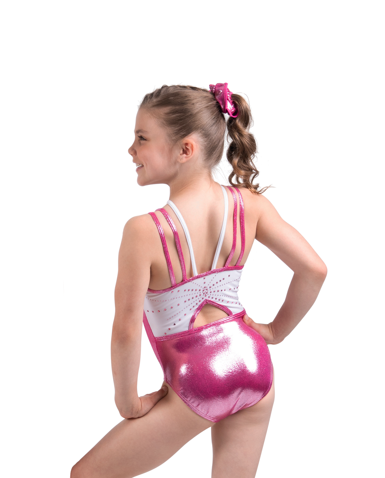 bubblegum pink mystique leotard with spaghetti straps and diamantes open back