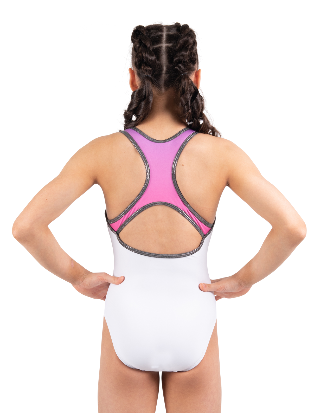 white and pink leotard with silver piping
