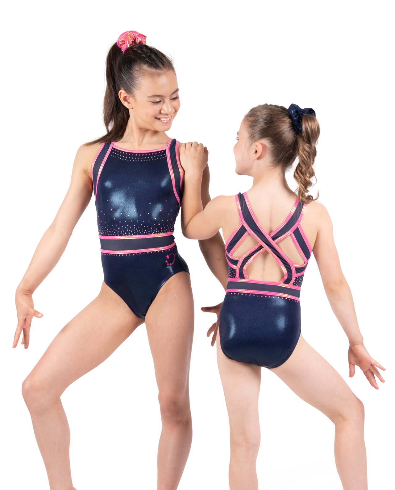 navy and rose gold leotard with open back