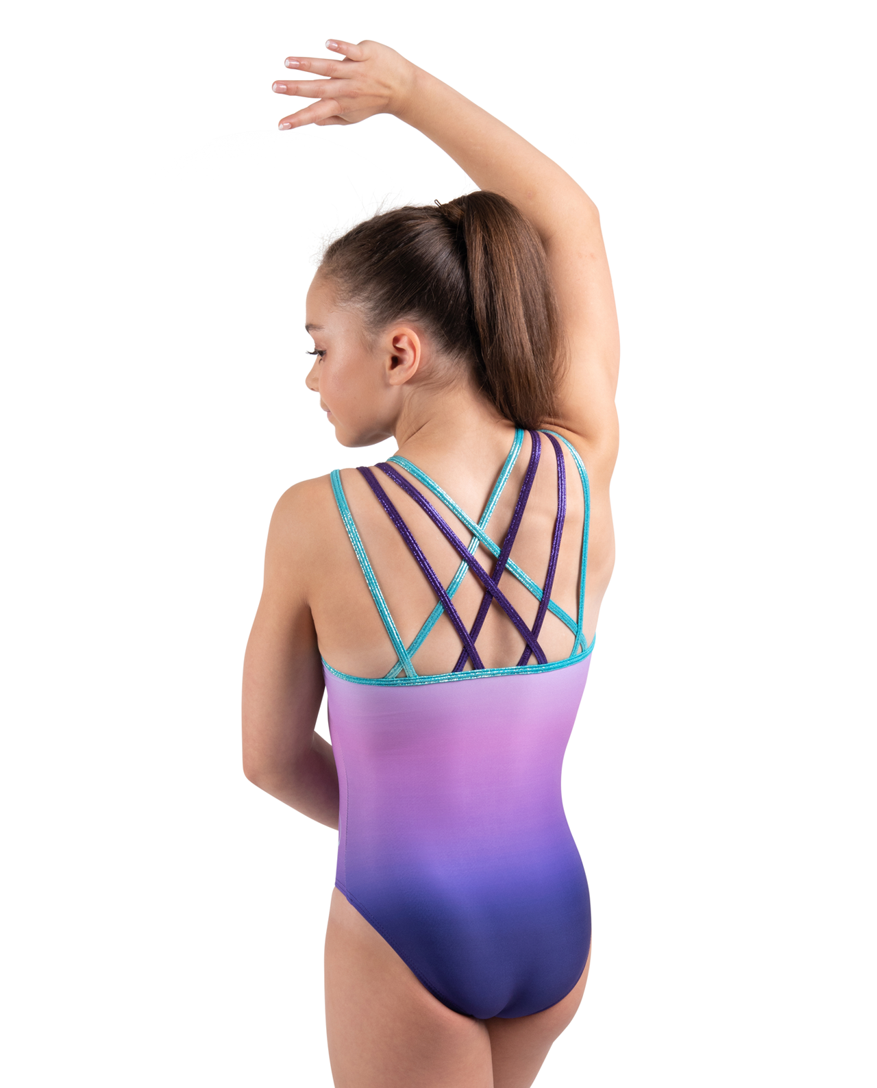 Purple and mint green ombre lycra sublimation* leotard with spaghetti straps in mystique