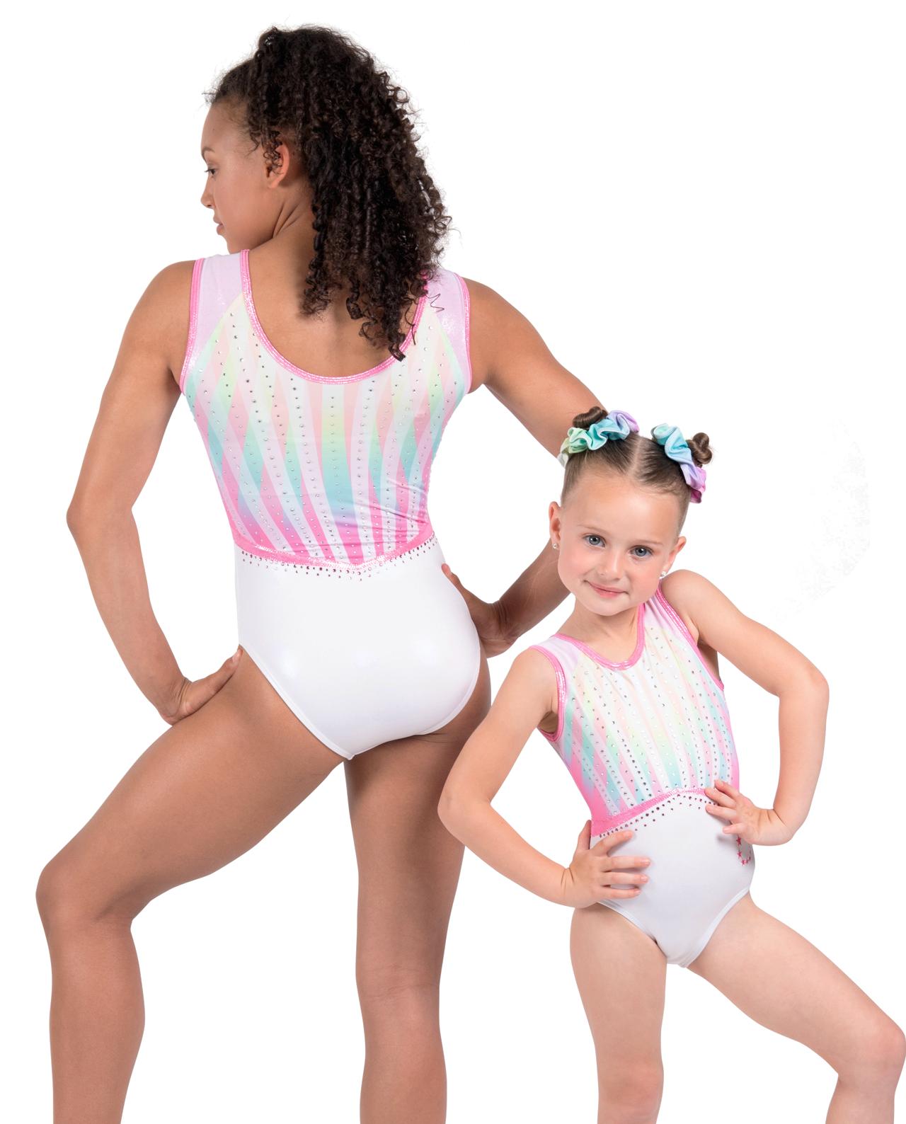 white, rainbow pastel circus inspired leotard