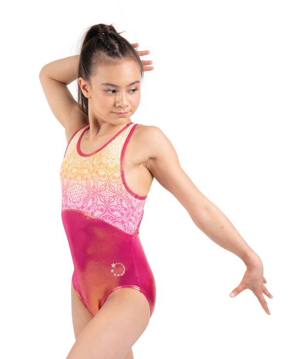 Copper and mandala flower ombre leotard with strap open back