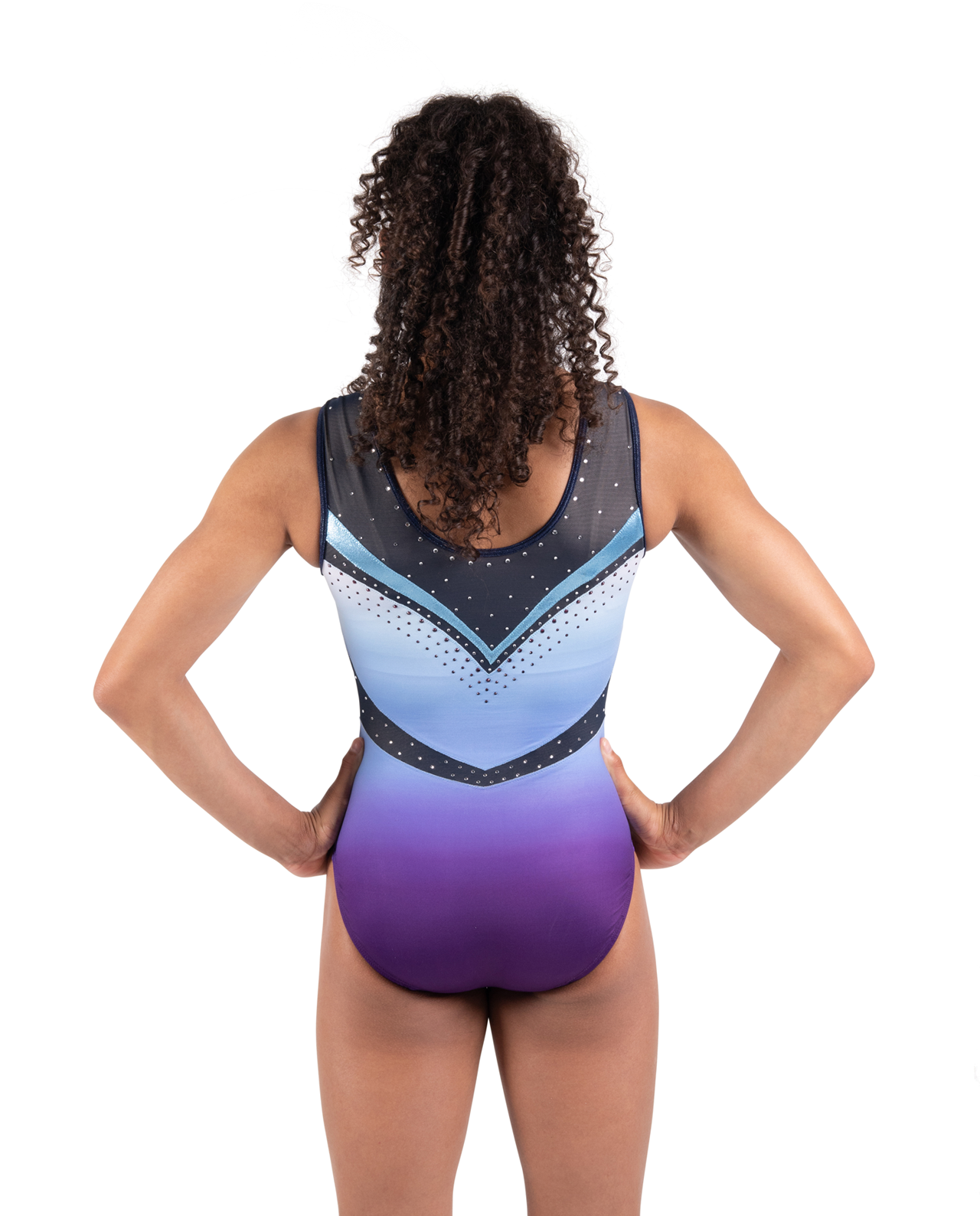 Ombre sporty blue, black and purple leotards