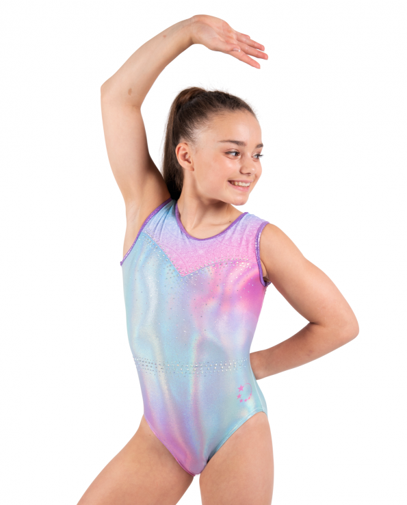 holographic pastel pink and blue leotards with star strap back