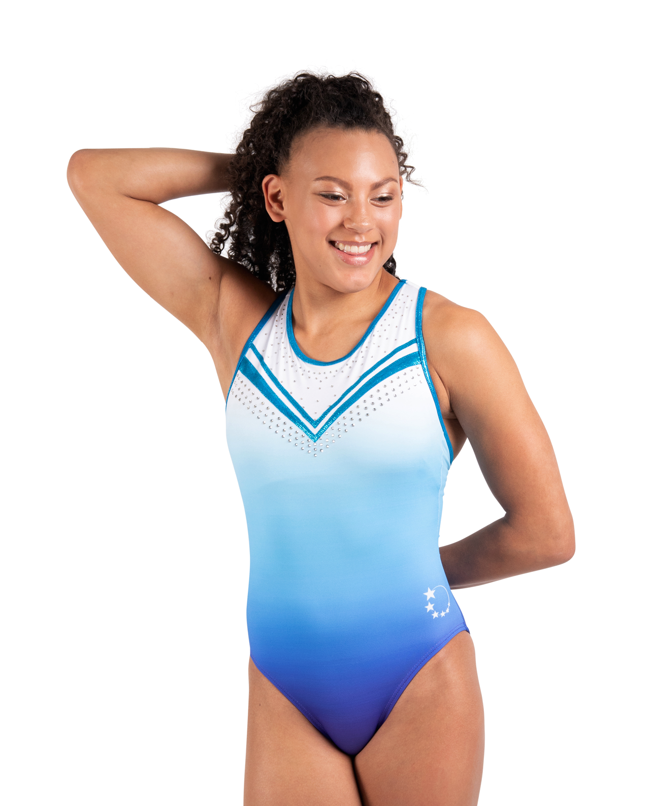 blue and white ombre racer back leotard