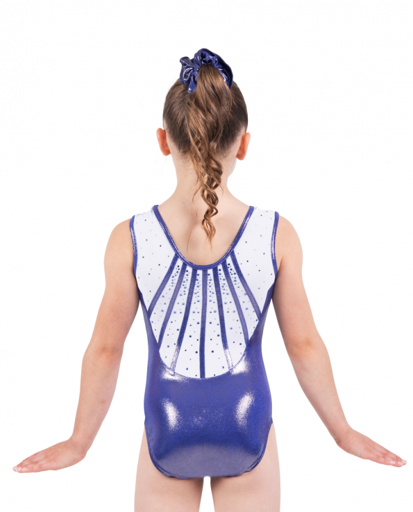 purple and white leotard with detailed binding