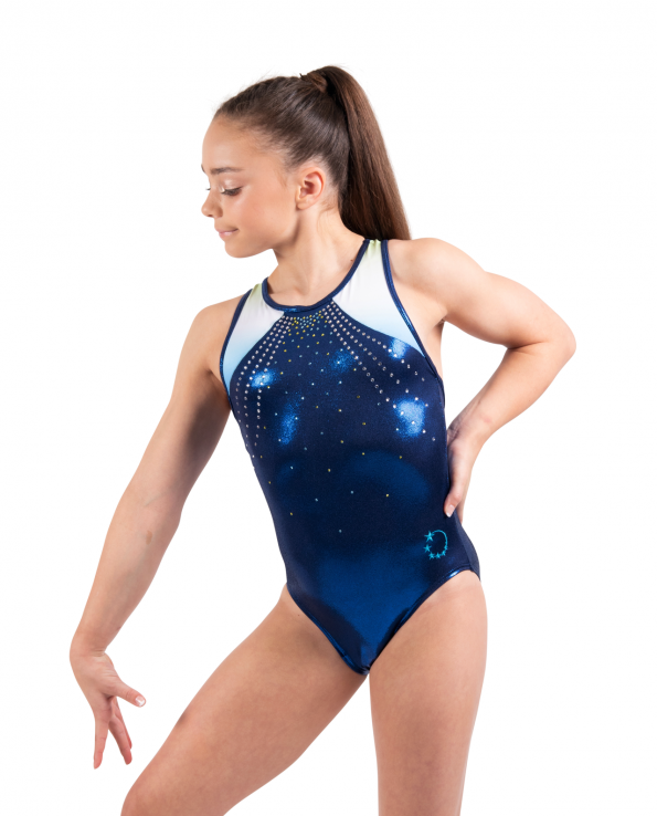 classic blue leotards with ombre open back