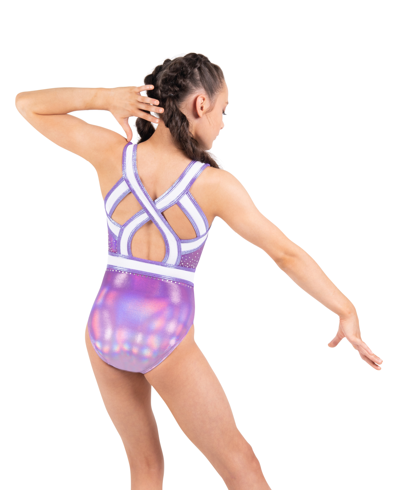 Lilac mystique leotard with white lined mesh waistband and stunning crossover open back