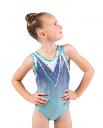sublimation mystique leotard mint and grey with a V detail