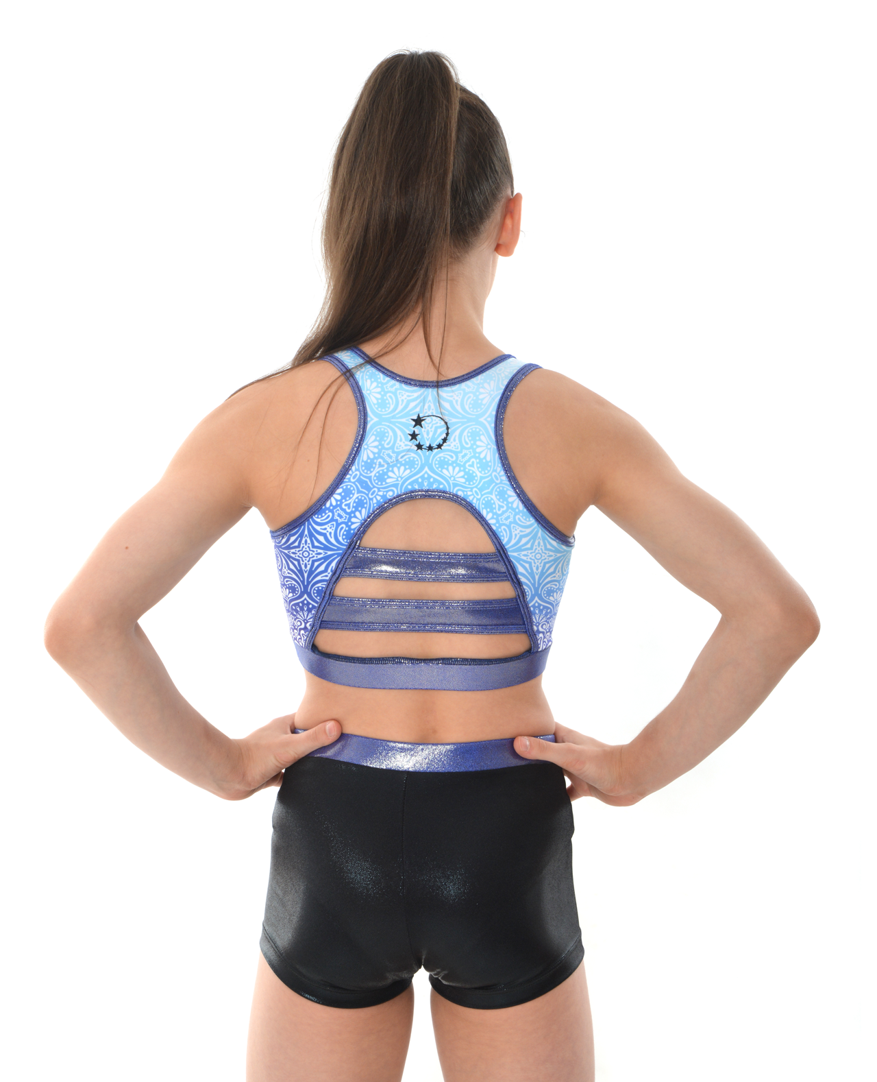 gymnastics cheerleading dance cropped navy blue mandala patten top and shorts