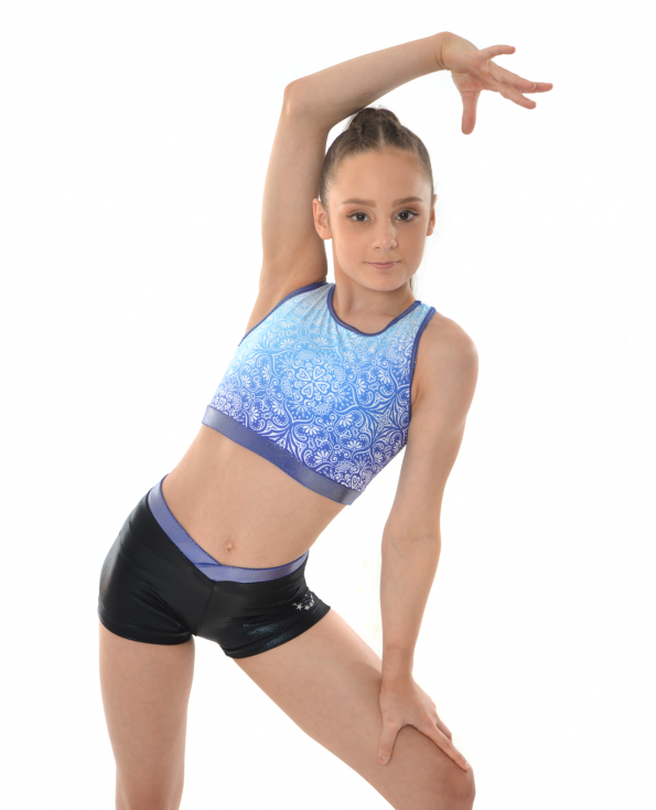 gymnastics cheerleading dance cropped navy blue mandala patten top and shorts