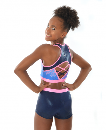 gymnastics cheerleading dance cropped pink and navy blue top short set
