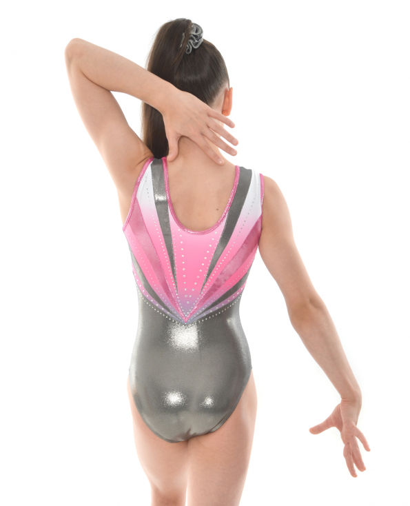 gymnastics leotard pink silver shimmer tank