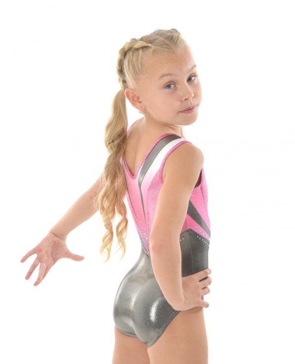 gymnastics leotard pink silver shimmer