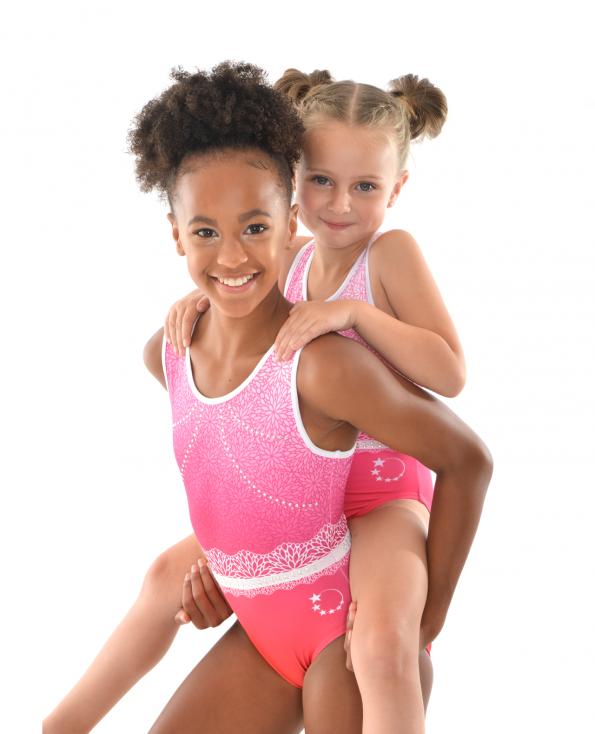 gymnastics leotard pink ombre flower pattern diamantes