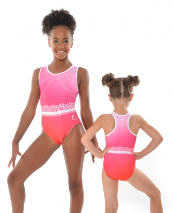 gymnastics leotard pink ombre flower pattern diamantes