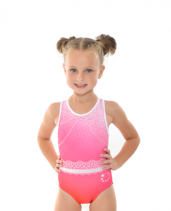 gymnastics cute leotard pink ombre flower pattern diamantes