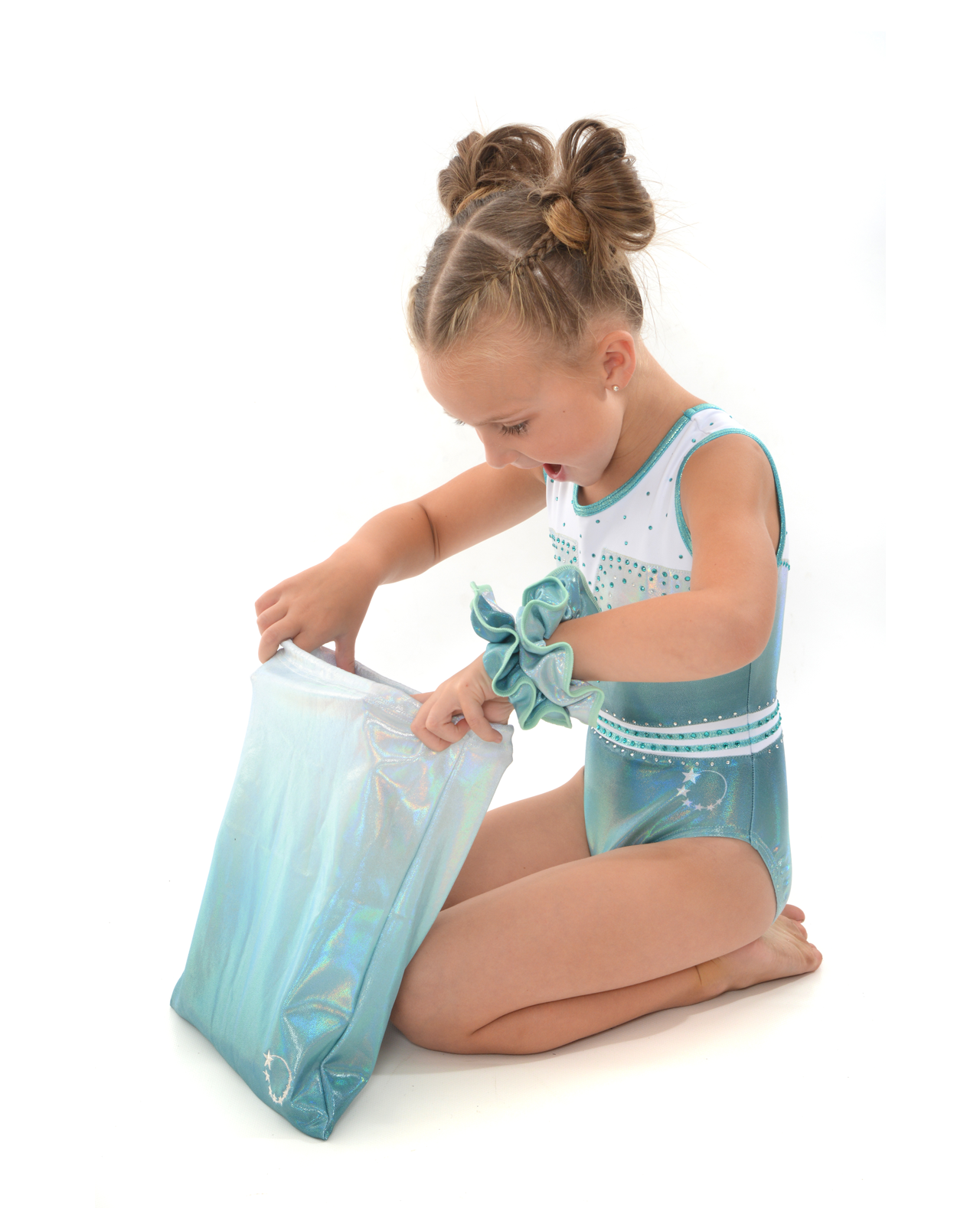 gymnastics leotard cute holographic mint ombre matching bag