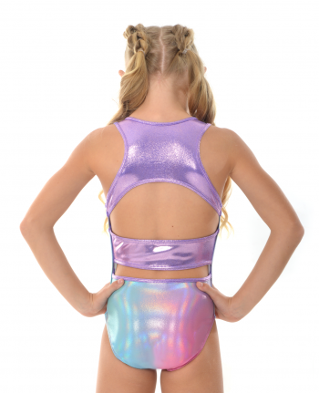gymnastics leotard cute holographic rainbow open back