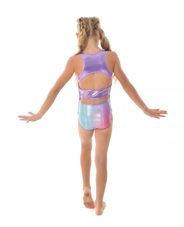 gymnastics leotard cute holographic rainbow open back