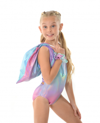 gymnastics leotard cute holographic rainbow open back and bag