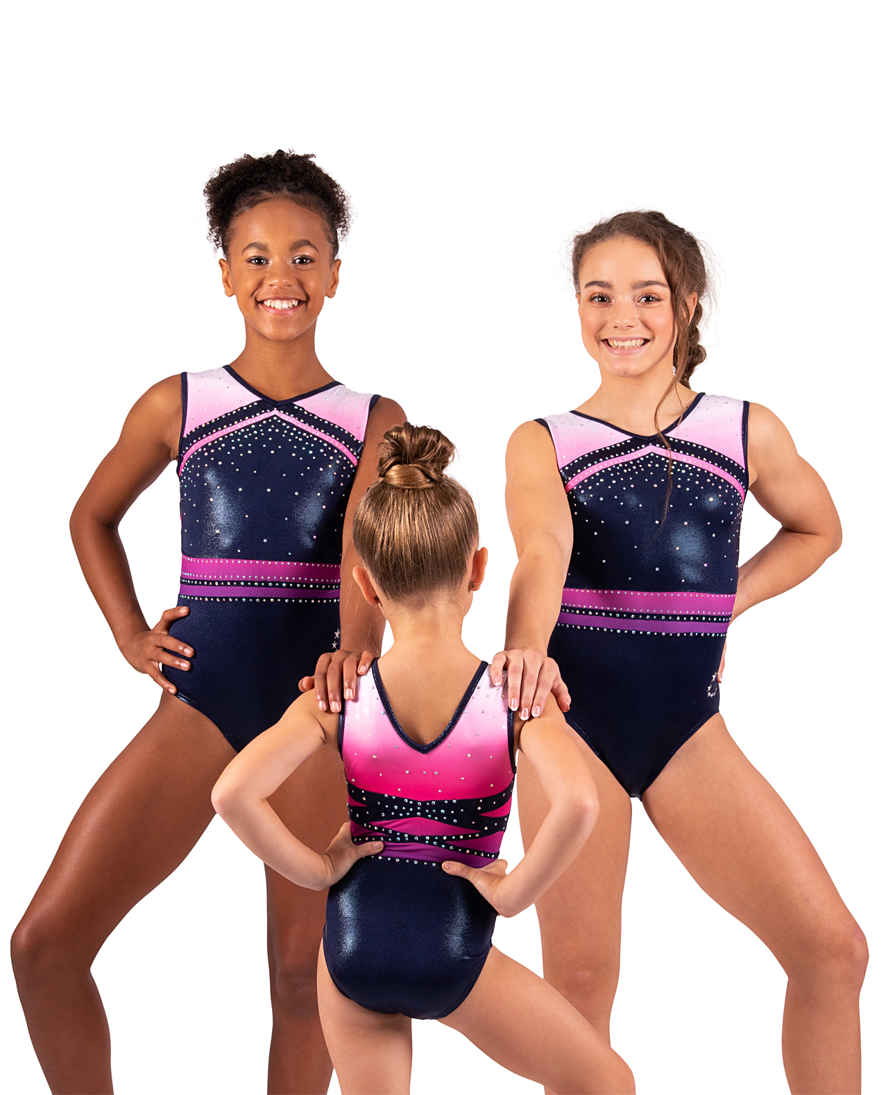 Pink ombre and navy leotard