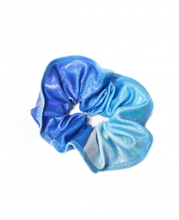 gymnastic hair scrunchie blue iridescent ombre