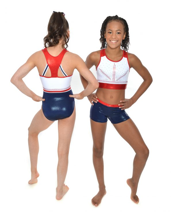 GB honour Red white and blue limited edition with racer back leotard crop top set
