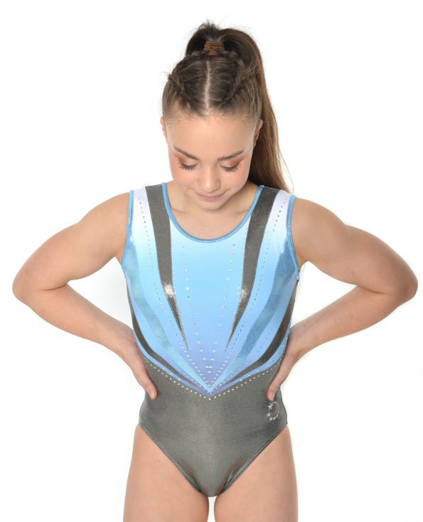 silver and baby blue v detail leotard