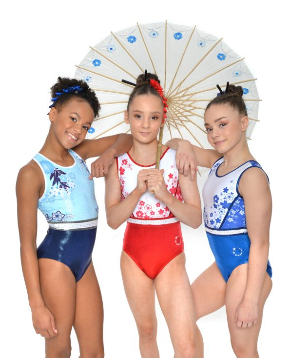 Red+ White, Navy and Blue + White Tokyo Inspire leotards