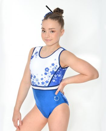 tokyo flower blue and white leotard front