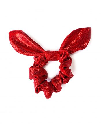 scrunchie knotted bunny bow red