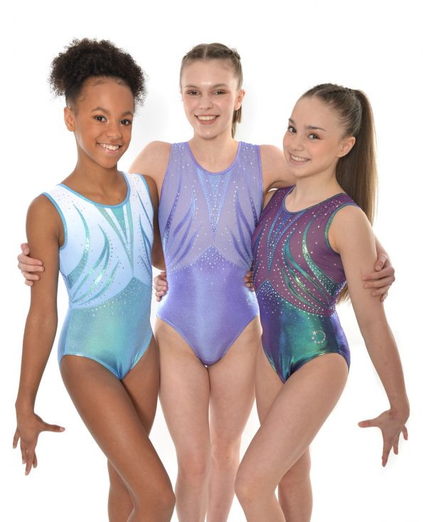 lilac, blue rainbow mystique blue and grape tank leotard