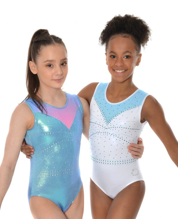 Sporty tank leotard white and mystique blue