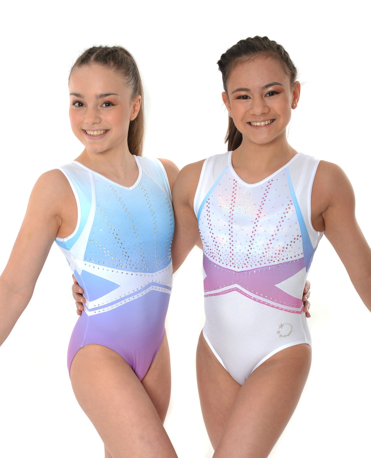 White and pastel Ombre Tank Leotard