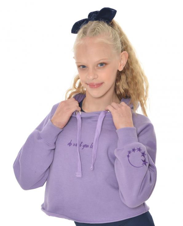 purple gymnastics cropped hoodie