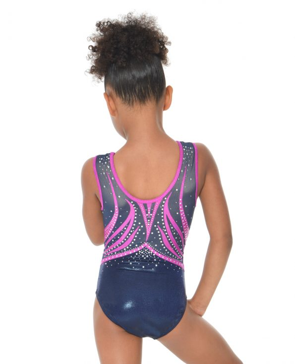 gymnastics leotards navy purple diamantes