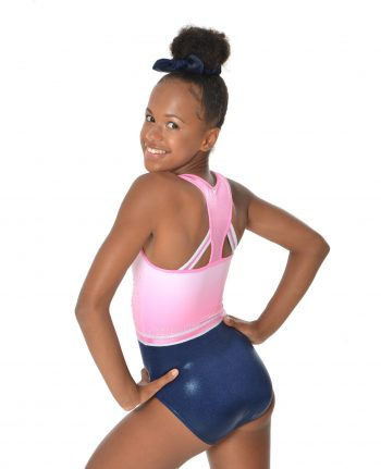 baby pink and navy leotard