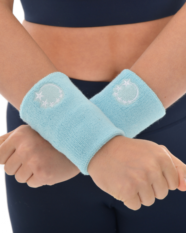 baby blue gymnastics sweatband wrist protection