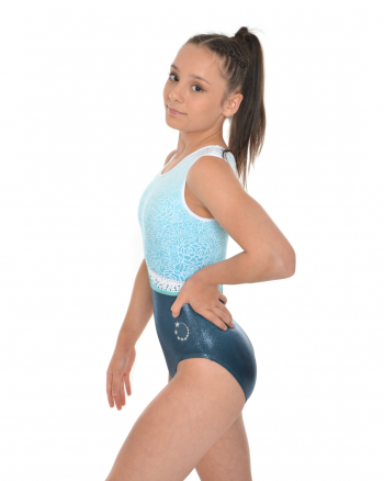Teal patterned leotard with colours diamantes