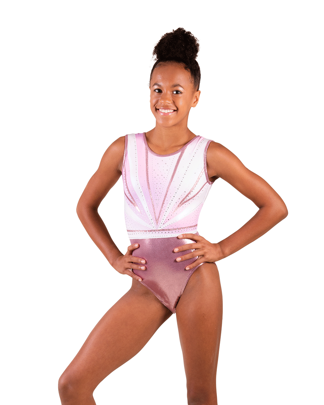 Pastel Pink leotard with diamantes