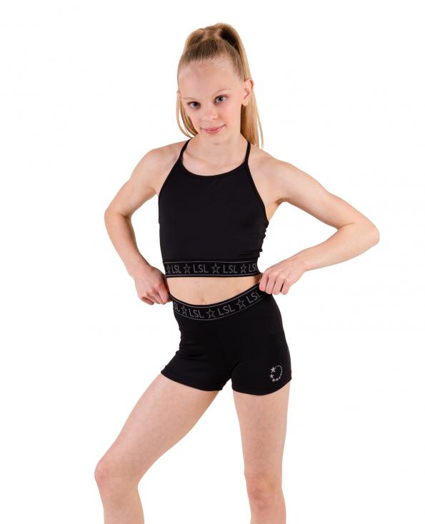gymnastics crop top set black
