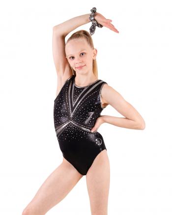 Black and silver gymnastics leotards